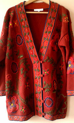 90s vintage embroidered Principles oversized cardigan 12 - 14 hipster geek