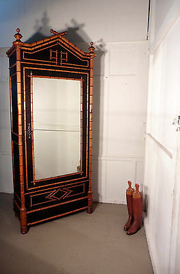 French Simulated Bamboo Vitrine Armoire Wardrobe Display Cabinet