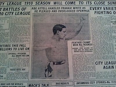 Oct 8, 1910 Newspaper Page #2874- Abe Attell Boxing- Handled Frankie White