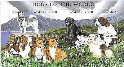 Zambia - Dogs of The World, 1999 - Sc 809 Sheetlet of 6 MNH