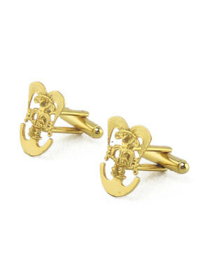 ACROSS THE PUDDLE 24k Gold Plated Pre-Columbian Bird Shaman Cuff Links