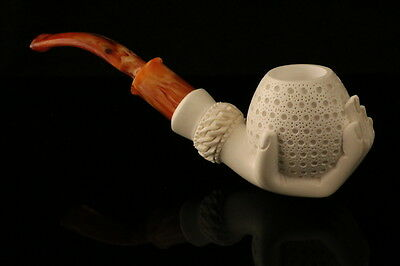 Lady's hand Holding a Lattice Egg Block Meerschaum Pipe in a fit CASE 7594