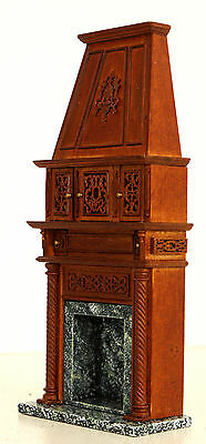 1/12 Miniature Marble Fireplace with Ornate Carved Wooden Mantle