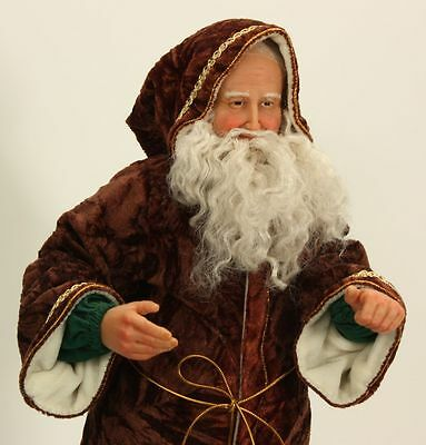 "20"" Tall Hand-sculpted Polymer Clay Santa Claus in Brown Robe OOAK"