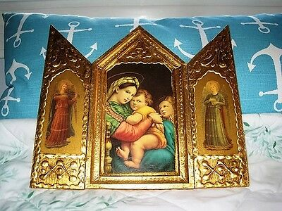 Large Gold Gilt Raised Gesso Tole Wood Italian Florentine Triptych Madonna Icon