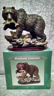 Grizzly Bear  Catching Trout Woodland Collection Lincolnshire Figurine Christmas