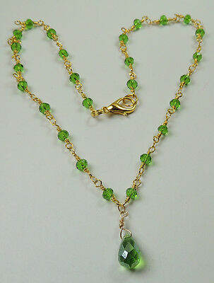 Handmade Chain Necklace with Green Crystal & Briolette