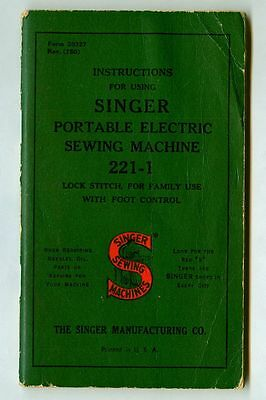 Vintage 1950 SINGER Electric SEWING MACHINE #221-1 Instructions Manual Booklet!