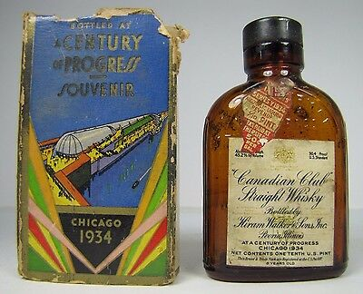 1934 Chicago World's Fair Canadian Club Whiskey Souvenir Bottle Century Progress