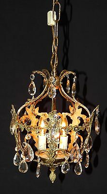 Victorian Chandelier Antique Solid Brass Made in Spain 1920s-1950s