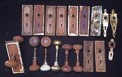 Lot 26 Antique Vtg Ornate Brass & Metal Doorknob Knob Backplate Matching Sets