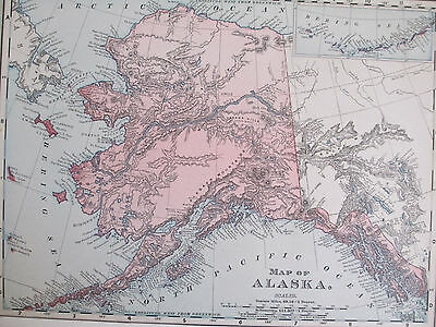 Antique 1870s Hand Colored Map of ALASKA with Bering Sea 12.75 x 10