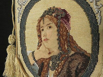 GIRL WITH JEWELS Antique 19thC Victorian Beaded Embroidery Needlepoint EXQUISITE