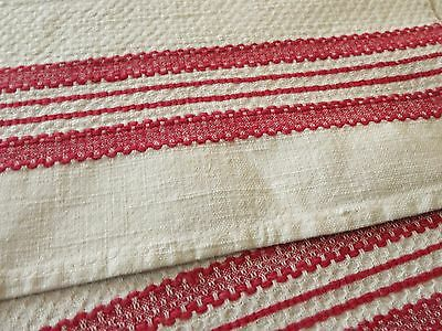Antique Linen Towel RED STRIPES 16x35 Waffle Weave ~FRENCH COUNTRY