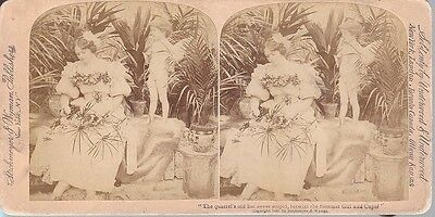 1897 Genre STEREOVIEW LOVELY VICTORIAN & NAKED LITTLE CUPID BOY
