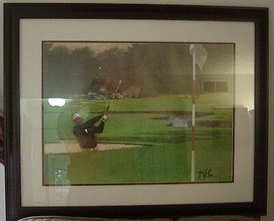 Seve Ballesteros Sand Wedge Lithograph Golf Print Framed Signed By Bart Forbes