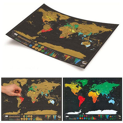 Large Deluxe Travel Edition Scratch Off World Map Poster Personalized Journal