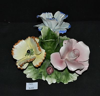 ThriftCHI ~ Capodimonte Italy Multi Color Floral Candle Stick Holder