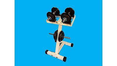 Single Pair Dumbbell Rack w/ Integrated Weight Plate Tree