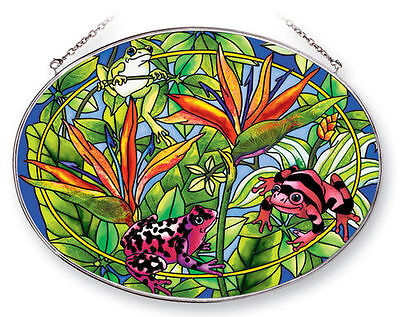 Frogs Sun Catcher AMIA Hand Painted Large Oval New Birds of Paradise Leaves