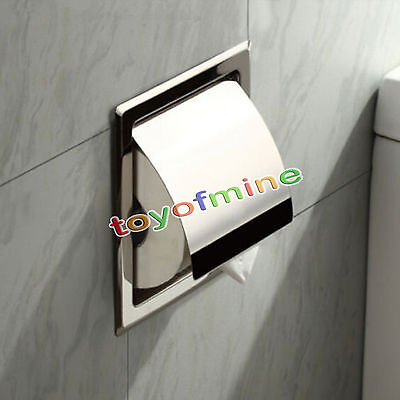 Chrome Stainless Steel Waterproof Toilet Paper Tissue Box Roll Wall Mount Holder