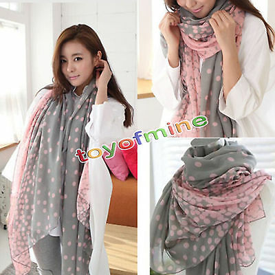 Women Fashion Pretty Long Voile Neck Scarf Scarves Wrap Soft Shawl Pink+Gray