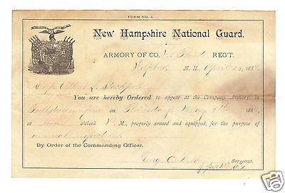 1889 New Hampshire National Guard-Order to Appear for Annual Inspection