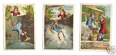 Set of 3 Lautz Brothers Acme Soap - Child Falling in Well