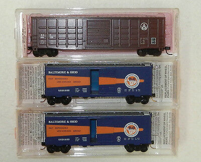 3 x MicroTrains/Roundhouse N Scale Baltimore & Ohio 40/50' Boxcars