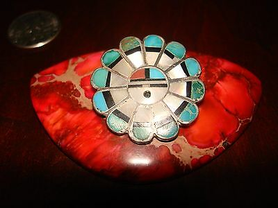 Vintage Zuni Sterling Silver & Turquoise Inlay Brooch/Pin.925 Signed.