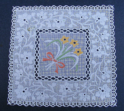 1:12 Scale Square Plastic White Table Cover Dolls House Miniature Doily B