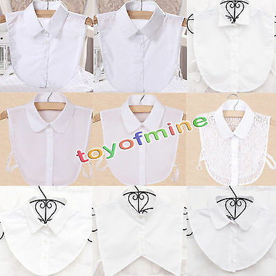 Fashion Women Choker Necklace Peter Pan Detachable Lapel Shirt Fake False Collar