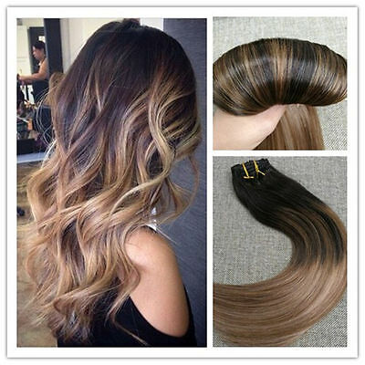 Ombre Balayage Clip in Human Hair Extensions Brazilian Human Hair 7pcs/100g