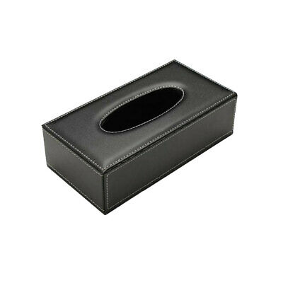 Room Car PU Leather Tissue Box Holder Napkin Paper Cover Rectangle Case BLK
