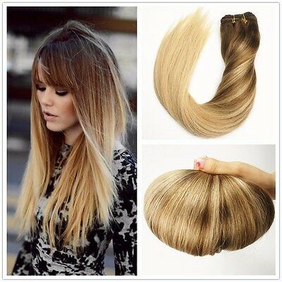 7A European Remy Clip In Human Hair Extension Ombre Straight 7pcs 100g