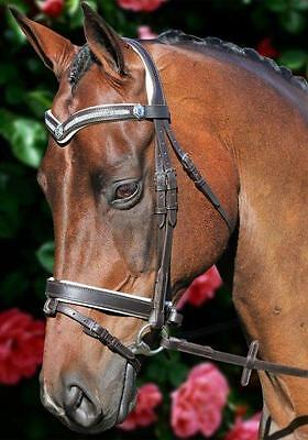 NEW Havana Leather Bling Horse Bridle White Padded with reins - Cob Full and WB