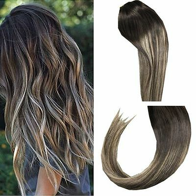 Ombre Balayage Clip in Human Hair Extensions Straight Brazilian Human Hair 7pcs