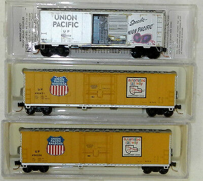 3 x Atlas/MicroTrains N Scale Union Pacific 40/50' Boxcars