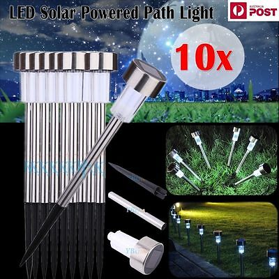 10 x Stainless Steel Outdoor/Grass/yard/garden Solar Powered Path LED Light Lamp