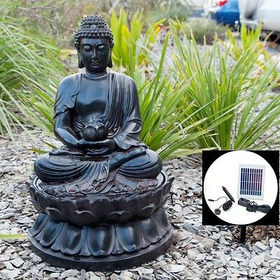 Solar Water Fountain Feature LED Light Outdoor Buddha Statue Zen Decor Garden