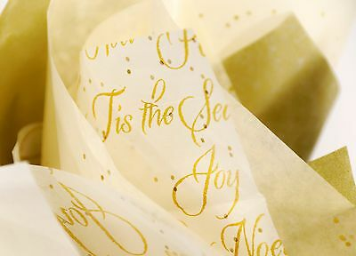 Christmas Holiday Gift Wrap Tissue Paper Gold Joy Peace Glitter Sequin Sparkle