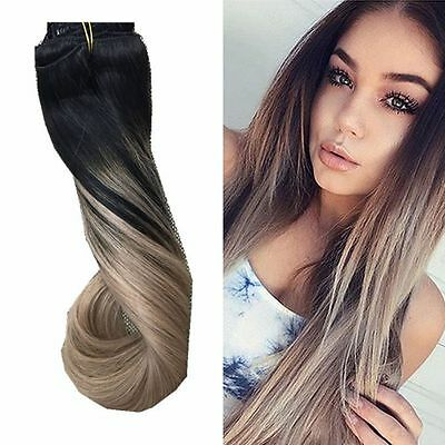"European Remy Clip in Human Hair Extensions Ombre Balayage Straight 16""-24"""