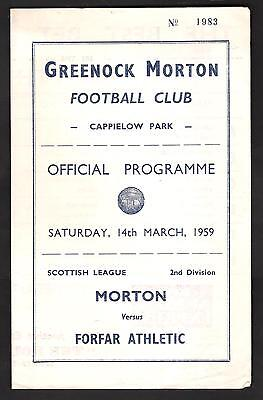 Morton V Forfar Athletic---Saturday 14Th March 1959