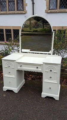 Very Pretty Painted Vintage Dressing Table with Arched Mirror & Lovely Handles