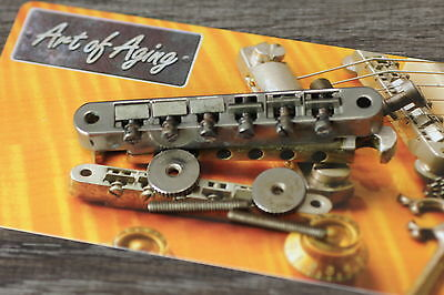 """ABR-1 Nonwired Nickel Bridge Aged fits Gibson* incl Posts/Wheels """"Art of Aging"""""""