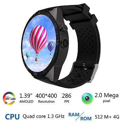 "1.39"" KW88 Smart Watch Phone Android 5.1 Heart rate monitor camera smartwatch"