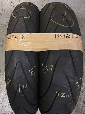 PART WORN TYRES USED MOTORCYCLE TYRES 120/70-18 160/60-17 Pilot Road 2