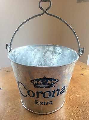 Galvanised Metal Corona Extra Ice Bucket Beer Ale Lager Bottle Cooler Xmas Party