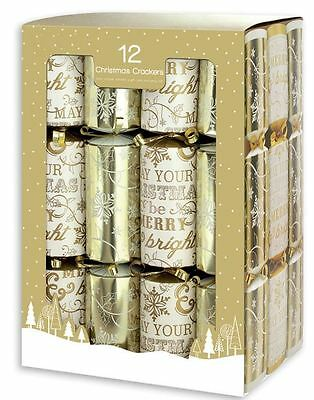 12 Crackers Merry Christmas & Snowflake Gift Present Xmas Festive Party Family