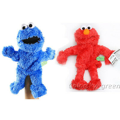 """Living Hand Puppets 14""""  Elmo Cookie Monster Sesame Street Soft Plush Toy Gift"""